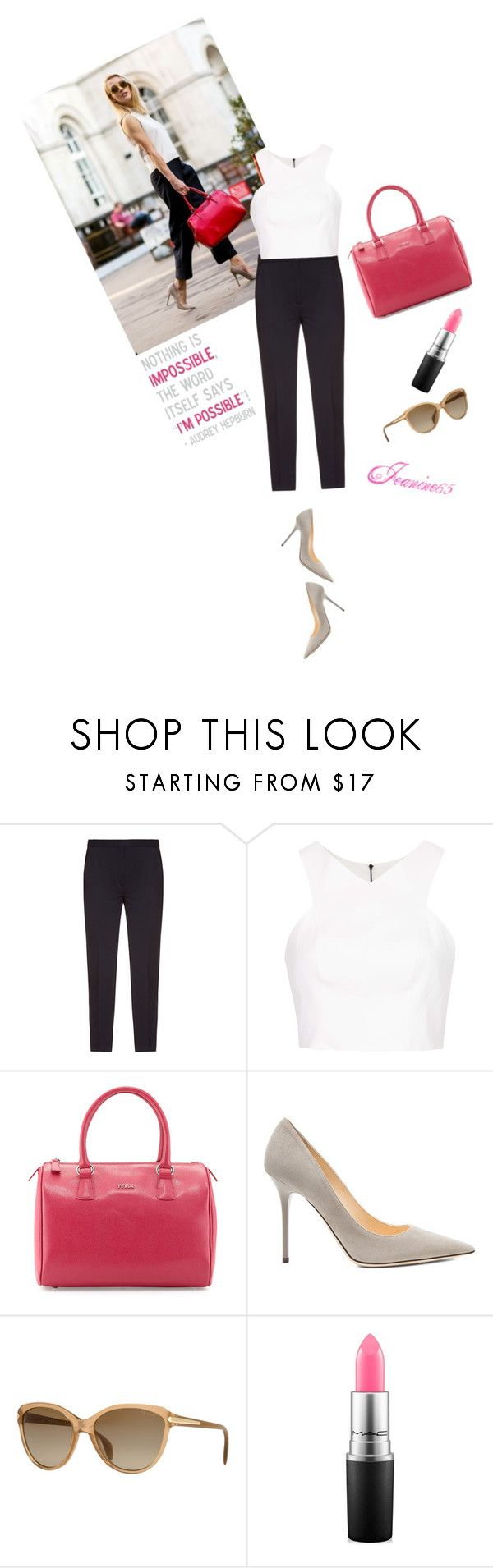 """""""Nothing is impossible the word itself says I'm possible!"""" Audrey Hepburn by jeanine65 on Polyvore featuring Topshop, Alexander McQueen, Jimmy Choo, Furla, Prada, MAC Cosmetics and Avenue"""