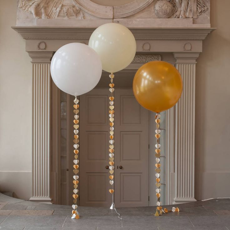 This beautiful giant 3 foot Balloon comes with a handmade tail in a fun new heart design in ivory, gold and cream.Co-ordinating items are available including a bubble confetti filled balloon, a large balloon with a tassel tail and a garland.A gorgeous giant balloon ready to be inflated by you for a party, wedding or any special occasion! The balloon is supplied with a handmade circle tail that is simply stunning. Sure to add the 'WOW' factor to any occasion. Please note the delivery time for…
