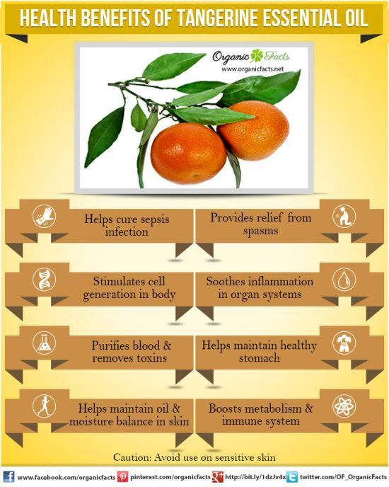 Health Benefits of Tangerine Essential Oil ~ Sepsis infection, Stimulates cell growth, Purifies blood & removes toxins, maintain oil & moisture balance in skin, Relief from spasms, soothes inflammation, healthy stomach, boosts immune system *Avoid on sensitive skin