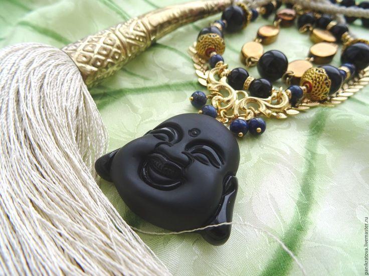 """Купить Колье """"Шёлковый путь"""" (агат, гематит, будда) - черный, золотой, агат черный"""