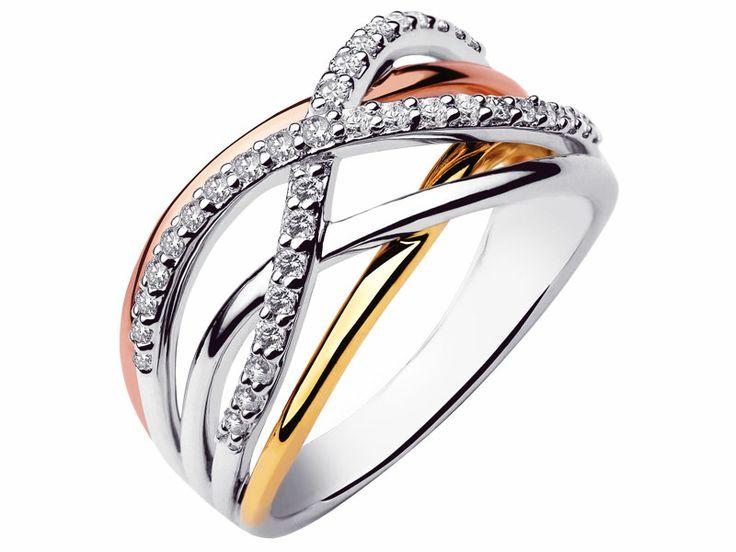 Pierścionek z białego, żółtego i różowego złota z brylantami | Apart