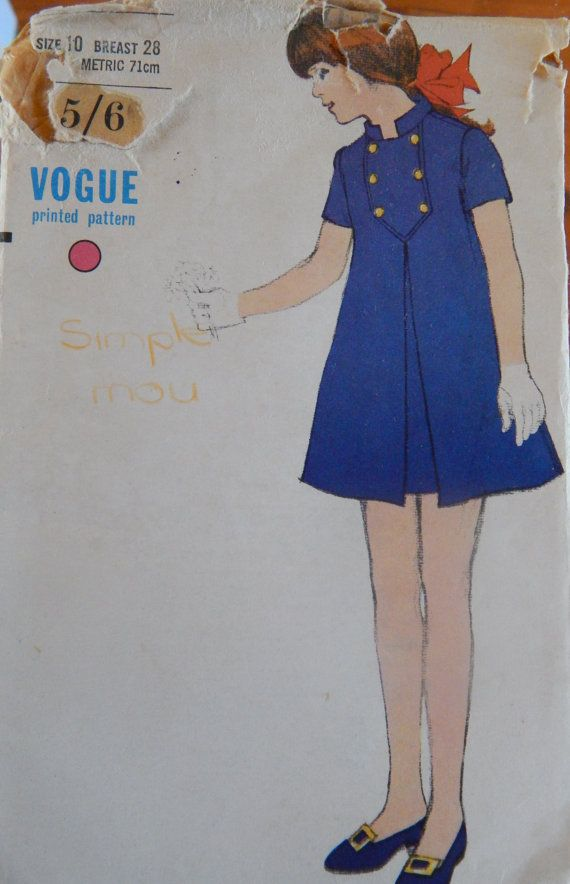 1960s Dress Vogue Pattern 7198 Girls Size 10 - Stylish!