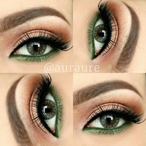 warm brown lid with pop of green under the lower lashes