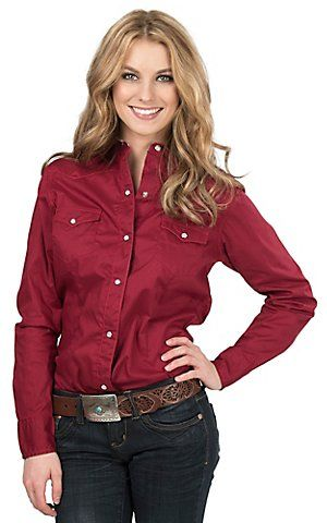 Roper Women's Red Western Long Sleeve Shirt   Cavender's