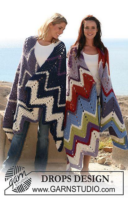 "Ravelry: 106-42 crochet blanket with zigzag pattern in ""Eskimo"" pattern by DROPS design"