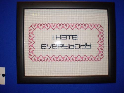 I Hate Everybody by Jamie Chalmers aka Mr X Stitch: Cross Stitch, Photo