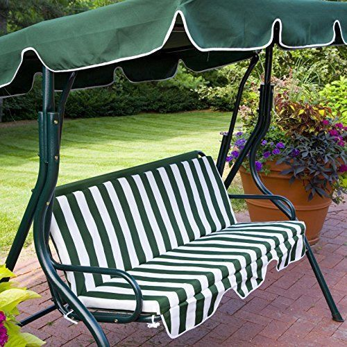 Outdoor Green Stripe Patio Sling Swing Glider Furniture Canopy Yard Bench Porch
