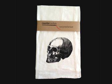 Skull Flour Sack Tea Towel by Counter Couture Design eclectic dishtowels