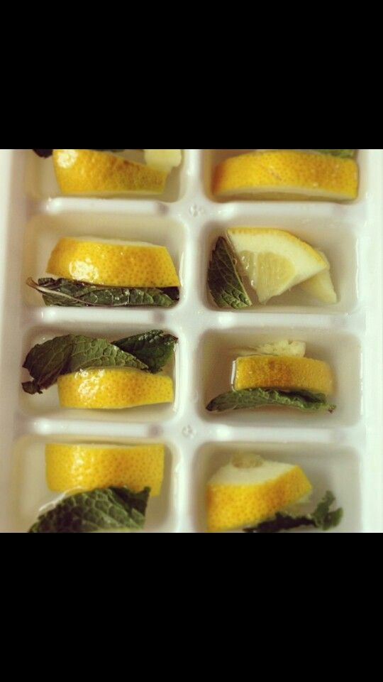 Infused ice cubes.   Just one way to spice up your water. Pour water OR any organic natural flavored juice of your choice .  Dice lemon and mint leaf OR the fruit and vegetables ,and/or herb/spice of your choice .  (Blending is also a preference).    Add products to water and simply Freeze!    Serve as desired.   Smoothies are great for the summer days as well as flavored ice tea.  FlawlessNYC