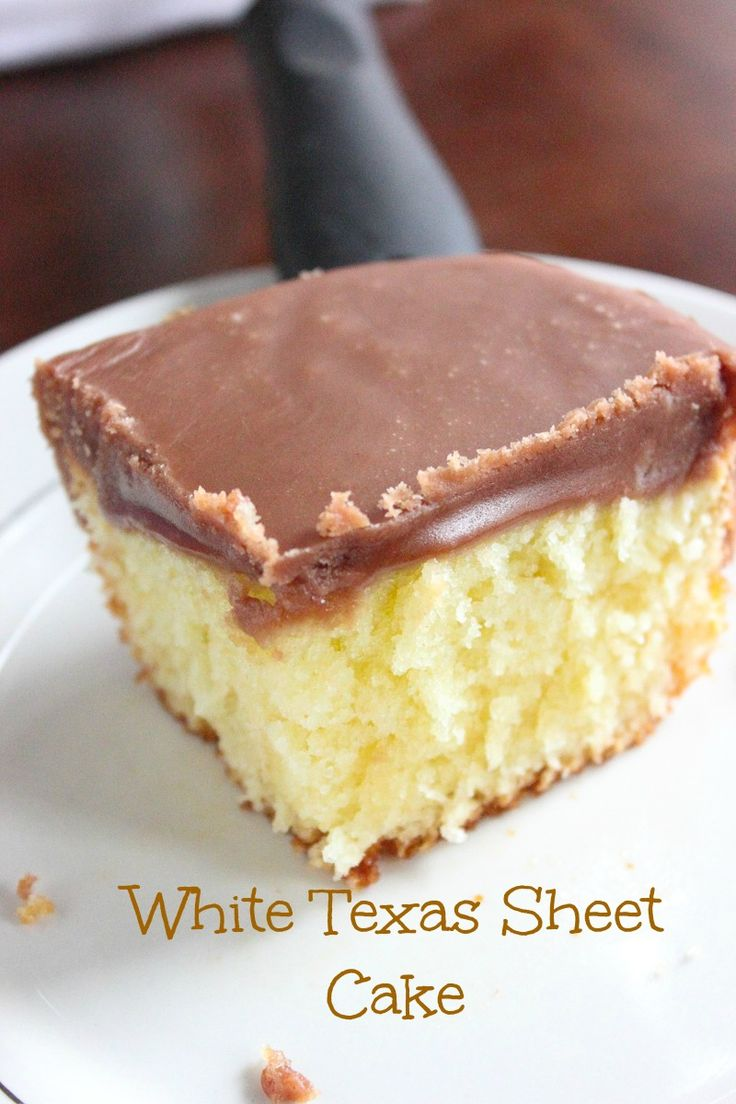 """White Texas Sheet cake big like the """"Heart of Texas"""". Moist white cake topped with a rich and fudgey chocolate frosting."""