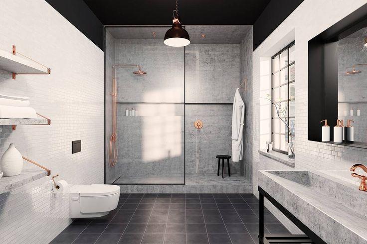 En trendy miks av marmor sort & kobber Her sammen med Geberit Monolith toalett #rørkjøp Designet av Issy Spence og Oliver Jack