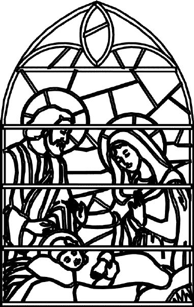 I Love This Coloring Sheet Of Nativity Stained Glass Pages