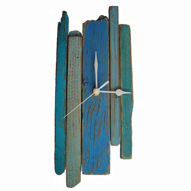 Shades of Blue Driftwood Wall Clock