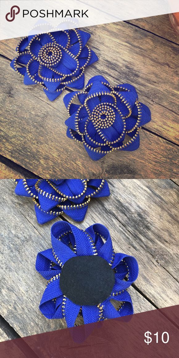 Zipper Tape Flower Embellishment Royal Blue flower embellishment made of blue zipper Tape with gold teeth   Can be glued or sewn on  Sold as a pair  Price firm Accessories