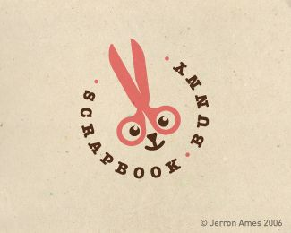 Cute logo: Scrapbook Bunny with scissors and bunny icon - designed by Jerron Ames