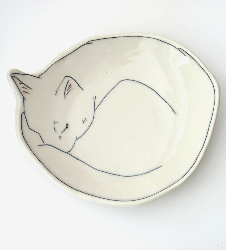 Curled Up Cat Dessert Plate by Early Bird Designs on Scoutmob