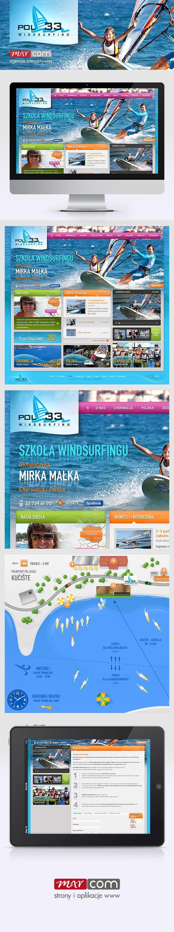 Strona internetowa szkoły windsurfingu Pol33.  Więcej na: http://www.e-marcom.pl/portfolio,43.html Realizacja: Marcom Interactive, Rybnik, Śląsk. Webdesign of windsurfing school Pol33.