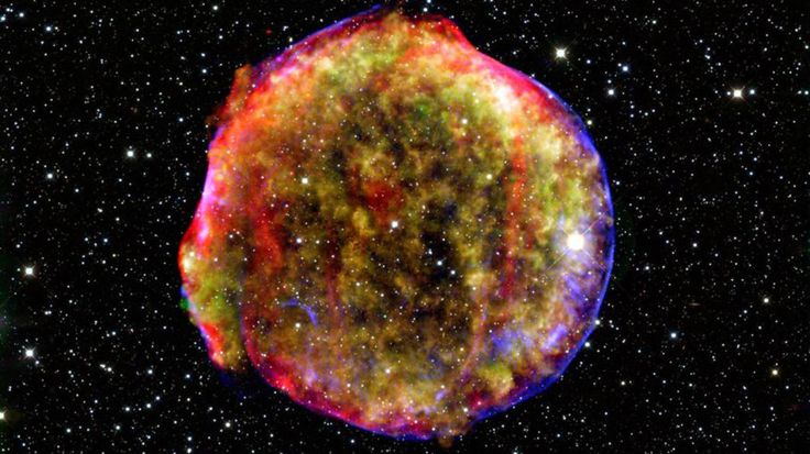 A supernova remnant as captured by NASA's Spitzer and Chandra space observatories and the Calar Alto observatory in Spain. MPIA/NASA/Calar Alto Observatory