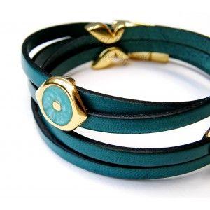 Βραχιόλι Petrol Eye & Heart TooLittle #leather #bracelet