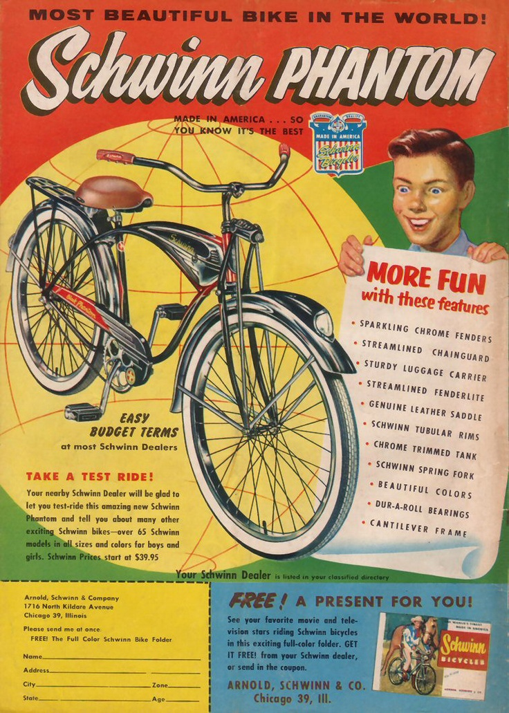Schwinn Black Phantom Ad 1956 | Vintage Bicycle Ads ...