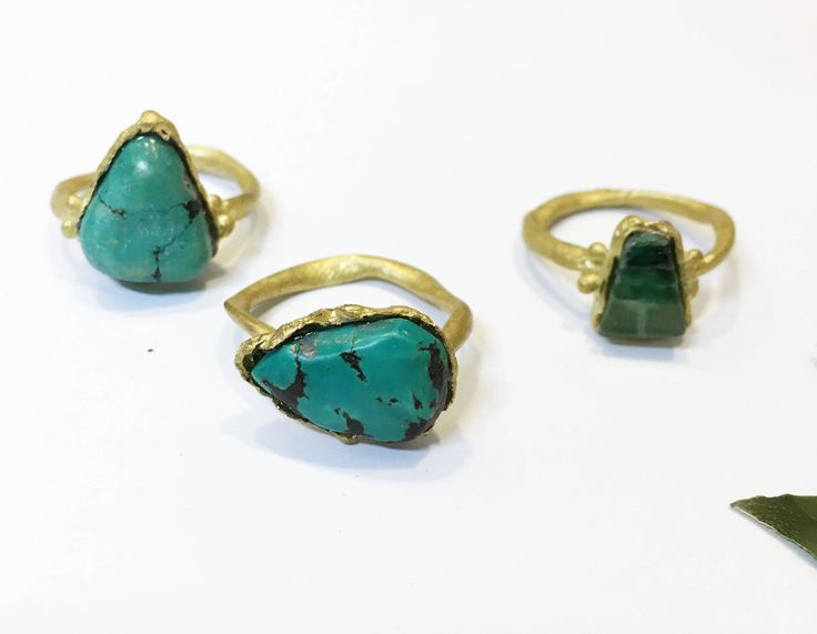 green stone ring, brass rustic linker, real stones, turquoise stone, green quartz, perfect gift for her, one of a kind ring, organic linker by maisolorzano on Etsy