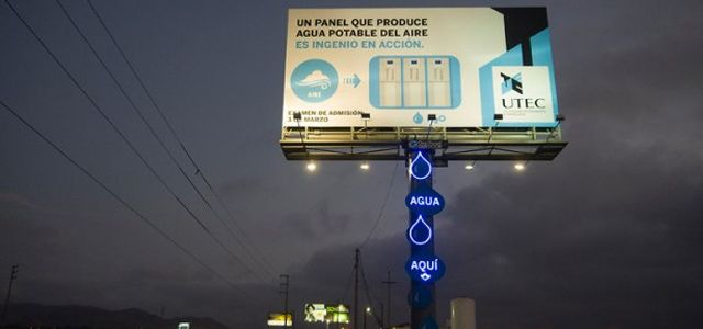 In Peru, billboard turns humidity into drinkable water. Genius!
