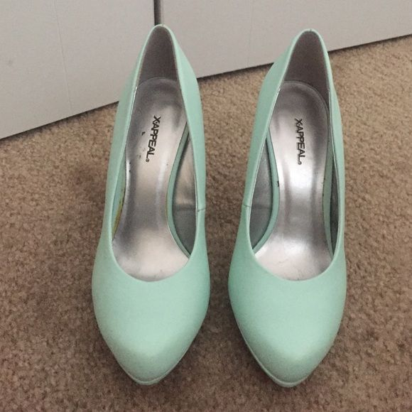 Mint Heels! Perfect for Easter Mint x-appeal heels, medium size heel! Perfect for Spring and Easter time! Light wear Shoes Heels