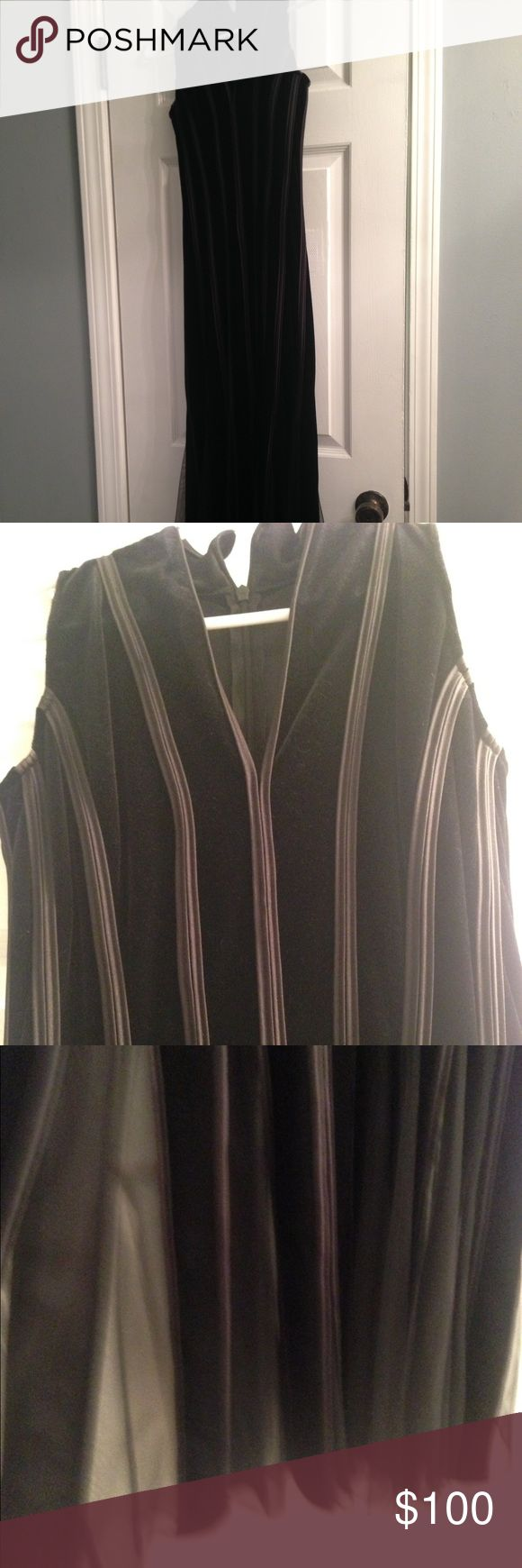 Beautiful sleek black ribbed event dress This dress is HOT! I wore it once to a ball when I was a size 4. It is black velvet with a black ribbing and hits the floor almost on me. I am 5'4. Make an offer! Night Way Dresses Maxi