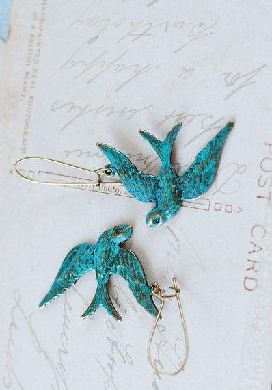 Teal Blue Verdigris Patina Brass Bird Earrings