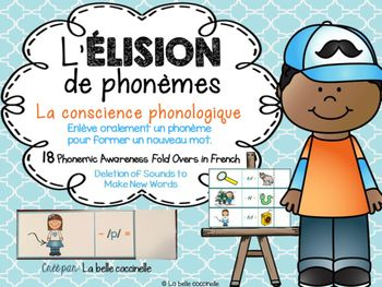 Develop Phonemic Awareness with these 36 French Fold Overs, where students eliminate a sound from a word, to make a new word. Enlve oralement un phonme dans un mot pour former un nouveau mot. Say the sound, not the letter name. Dis le son, non le nom de la lettre.Print, laminate (optional), cut on the solid black line and fold on the dotted line.