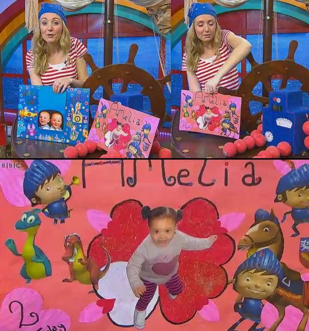 amelia's 2nd birthday card I made for cbeebies.  different coloured card, images from the cbeebies magazine, and heart shaped post stick notes.