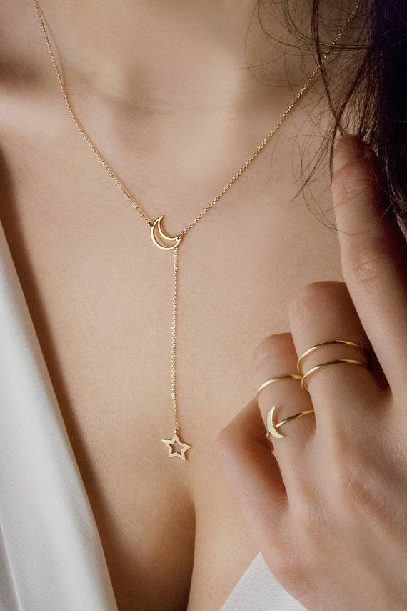Moon and Star Necklace, Gold Lariat Necklace, Celestial Lariat, Crescent Moon Charm, 14K Yellow Gold Necklace, Solid Gold Charm, Womens Gift