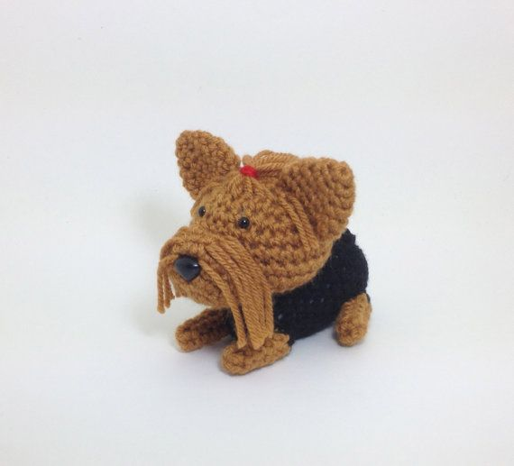 SALE / Yorkshire Terrier with Red Hair Tie Crochet by Inugurumi, $20.00