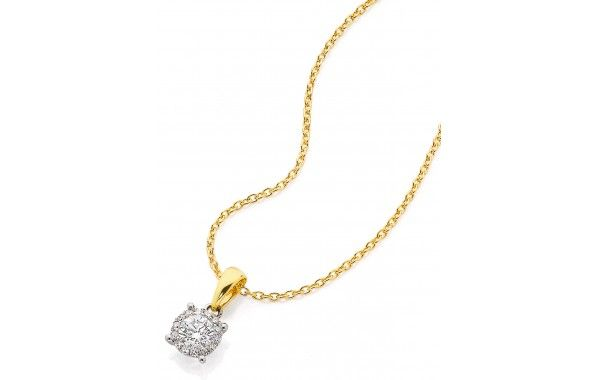 9ct Yellow Gold Diamond Cluster Pendant  0.33ct total diamond weight