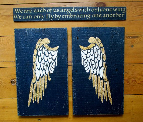 Angel Wings, Wood Angel Wings, Angel Wing Decor, Angel Wing Wall Art, Sculpted Wings, Recycled Wood, Inspirational Quote, Two Piece Art
