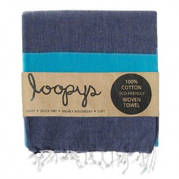 Navy / Ocean Blue Candy Stripe Turkish Towel