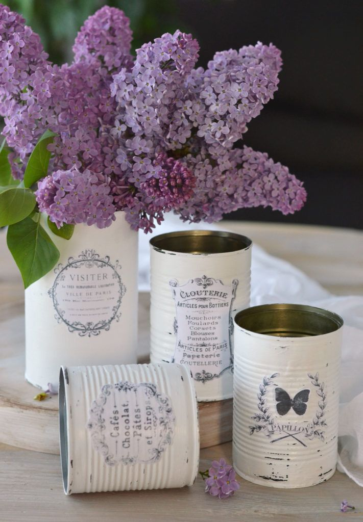 DIY Vintage French Recycled Tin Cans Project & Free Printable!