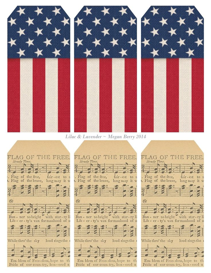 "Printable set of 6 patriotic tags: USA flag-theme and ""Flag of the Free"" sheet music."