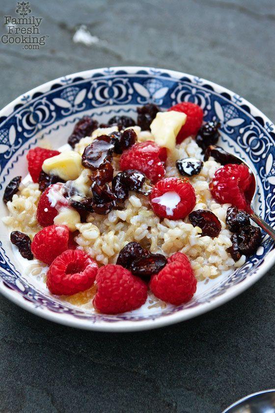 Brown Rice Breakfast Porridge | A delicious twist on oatmeal & hot cereal | FamilyFreshCooking.com
