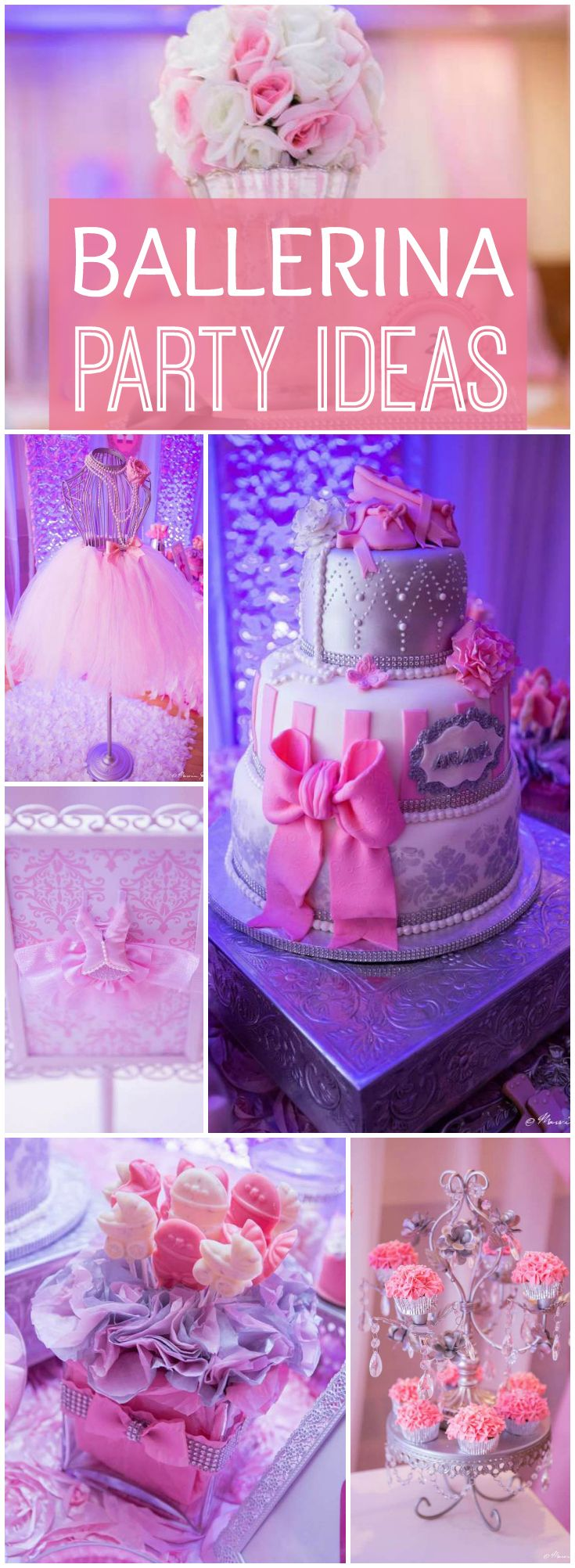 Loving this pink princess ballerina baby shower! See more party ideas at CatchMyParty.com!
