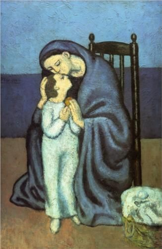 Pablo Picasso.  Motherhood, hand colored aquatint, published in edition of 200 in 1928.  Included in his Blue period.