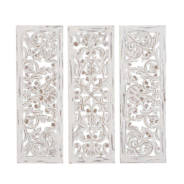 3 Piece Carved Ornate Wall Decor Set Wood Panel Walls Medallion