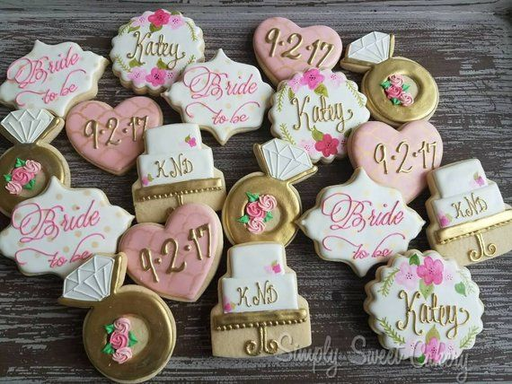 4225a907137e Floral Bridal Shower Cookies wedding bride engagement Save the Date (40  cookies)