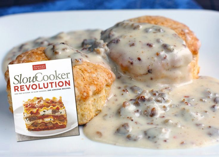 """Slow Cooker Sausage Gravy  This gravy is perfect for a sausage biscuit and gravy breakfast and is inspired by America's Test Kitchen's """"Slow Cooker Revolution.""""  These boo…"""