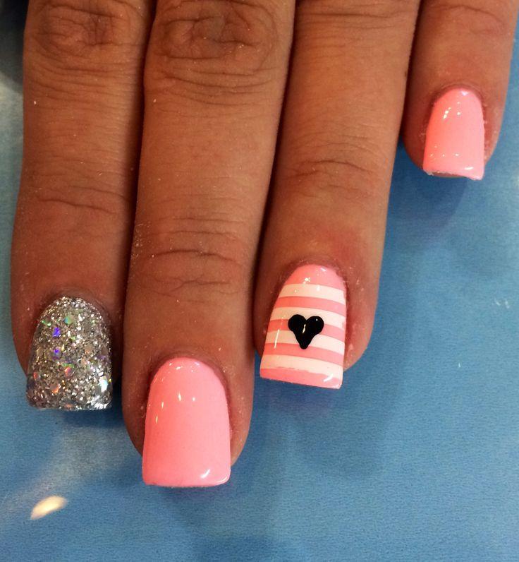 Pink/ coral gel nail designs