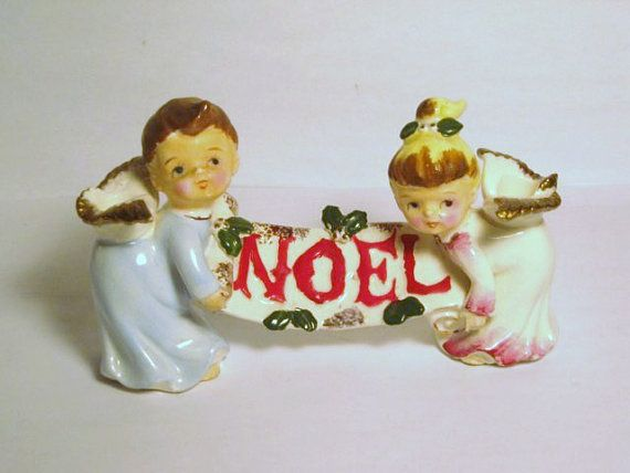 Vintage Christmas NOEL Angels Banner porcelain figurines Boy Girl Candle Holder Japan Lefton Napco Ornament decoration Pixie elf Pajama kids