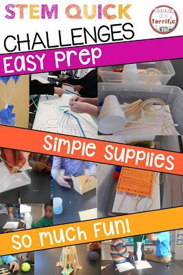 STEM Quick Challenges- each has simple and limited supplies, gather them in a container with the students directions card, and then stand back and see what they do! Perfect for substitute days or a day your students have earned a reward!