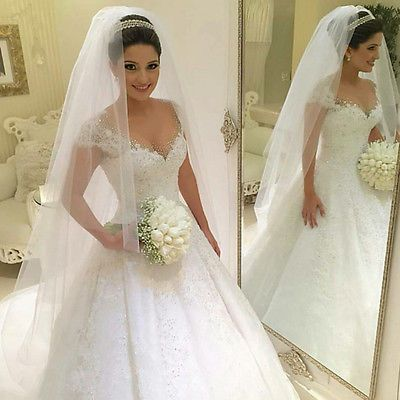 2017 New Crystal Sexy Bride Wedding Dress Plus Size Cap Sleeves Ball Gown4/6/8++