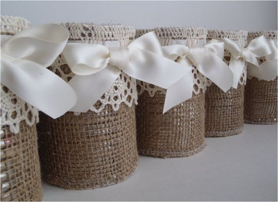 Burlap rustic vases 14 containers table decor for by glowinggirl, $84.00.    Make these for pennies.  Tin can covered in burlap (2.99/yd) add lace embellishment.