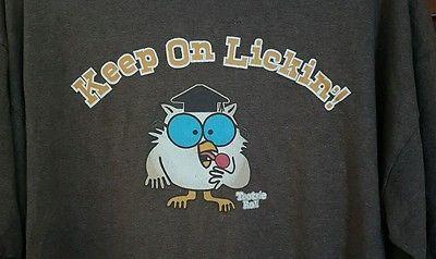 Mens Trau & Loevner Keep On Lickin Tootsie Roll Owl Lollipop Brown T-shirt Large